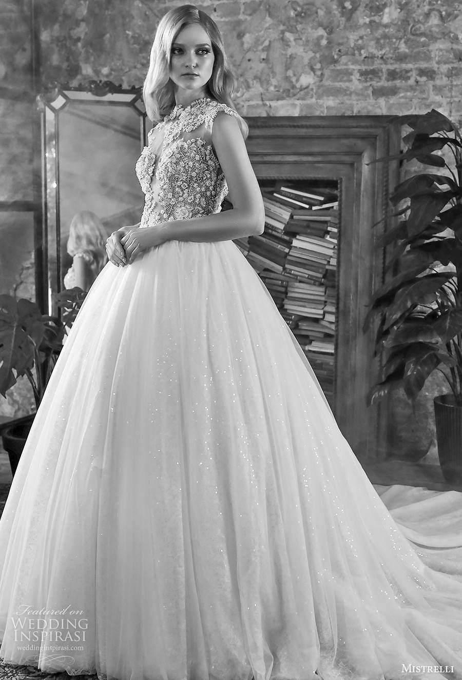 mistrelli 2021 royal drama bridal sleeveless jewel neck sweetheart neckline heavily embellished bodice romantic ball a  line wedding dress sheer button back chapel train (15) mv