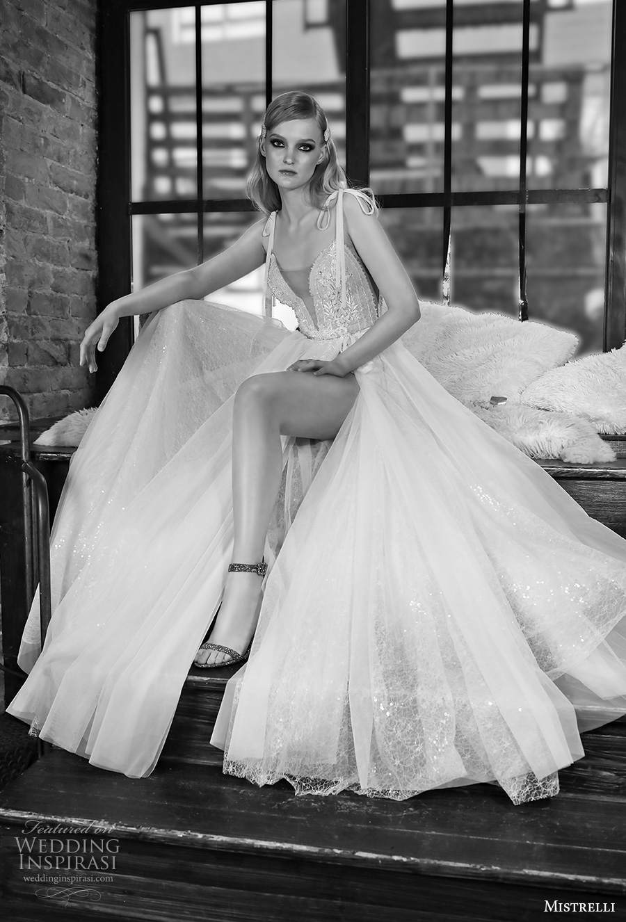 mistrelli 2021 royal drama bridal sleeveless ribbon straps deep sweetheart neckline heavily embellished bodice slit skirt romantic soft a  line wedding dress sweep train (6) mv
