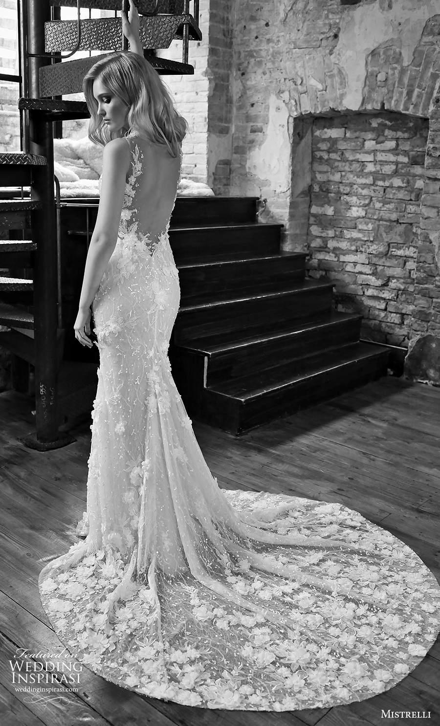 mistrelli 2021 royal drama bridal sleeveless thin strap deep plunging v neck full embellishment glamorous elegant sheath wedding dress backless low back medium train (4) bv