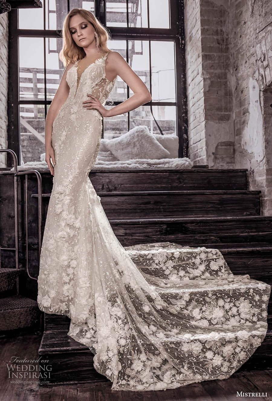 mistrelli 2021 royal drama bridal sleeveless thin strap deep plunging v neck full embellishment glamorous elegant sheath wedding dress backless low back medium train (4) mv