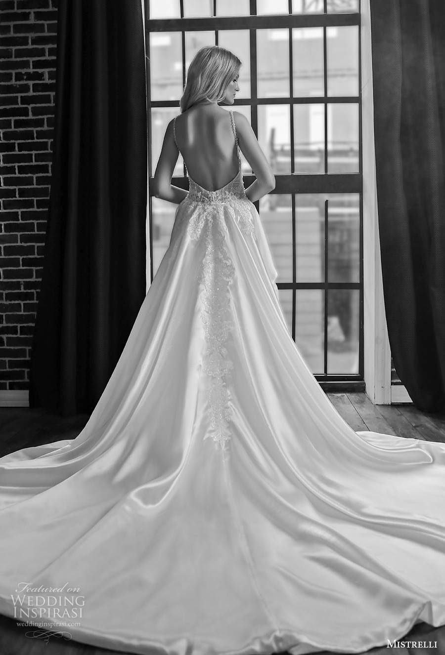 mistrelli 2021 royal drama bridal sleeveless thin strap deep sweetheart neckline full embellishment glamorous sheath wedding dress a  line overskirt backless low back chapel train (9) bv