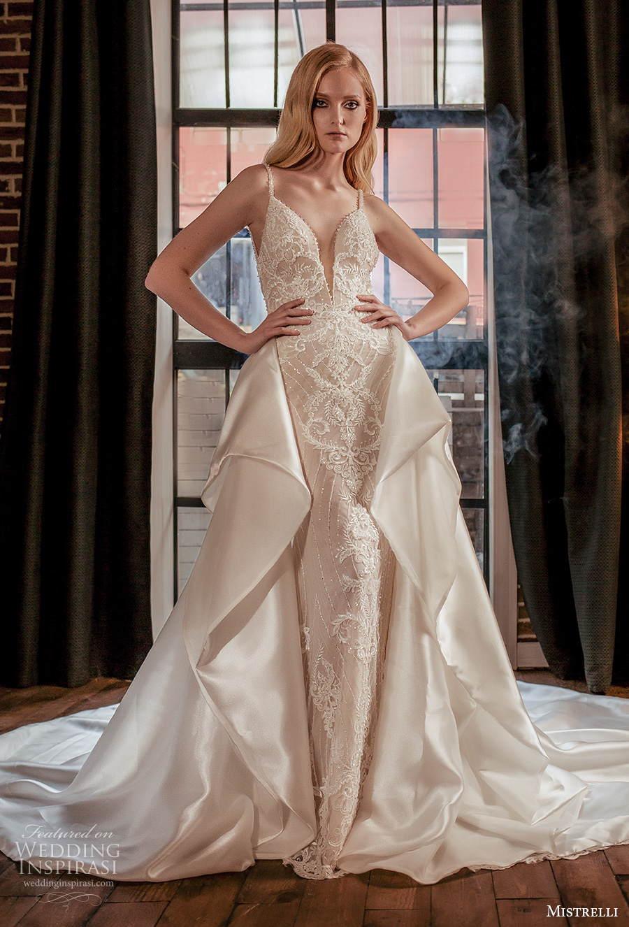 mistrelli 2021 royal drama bridal sleeveless thin strap deep sweetheart neckline full embellishment glamorous sheath wedding dress a  line overskirt backless low back chapel train (9) mv