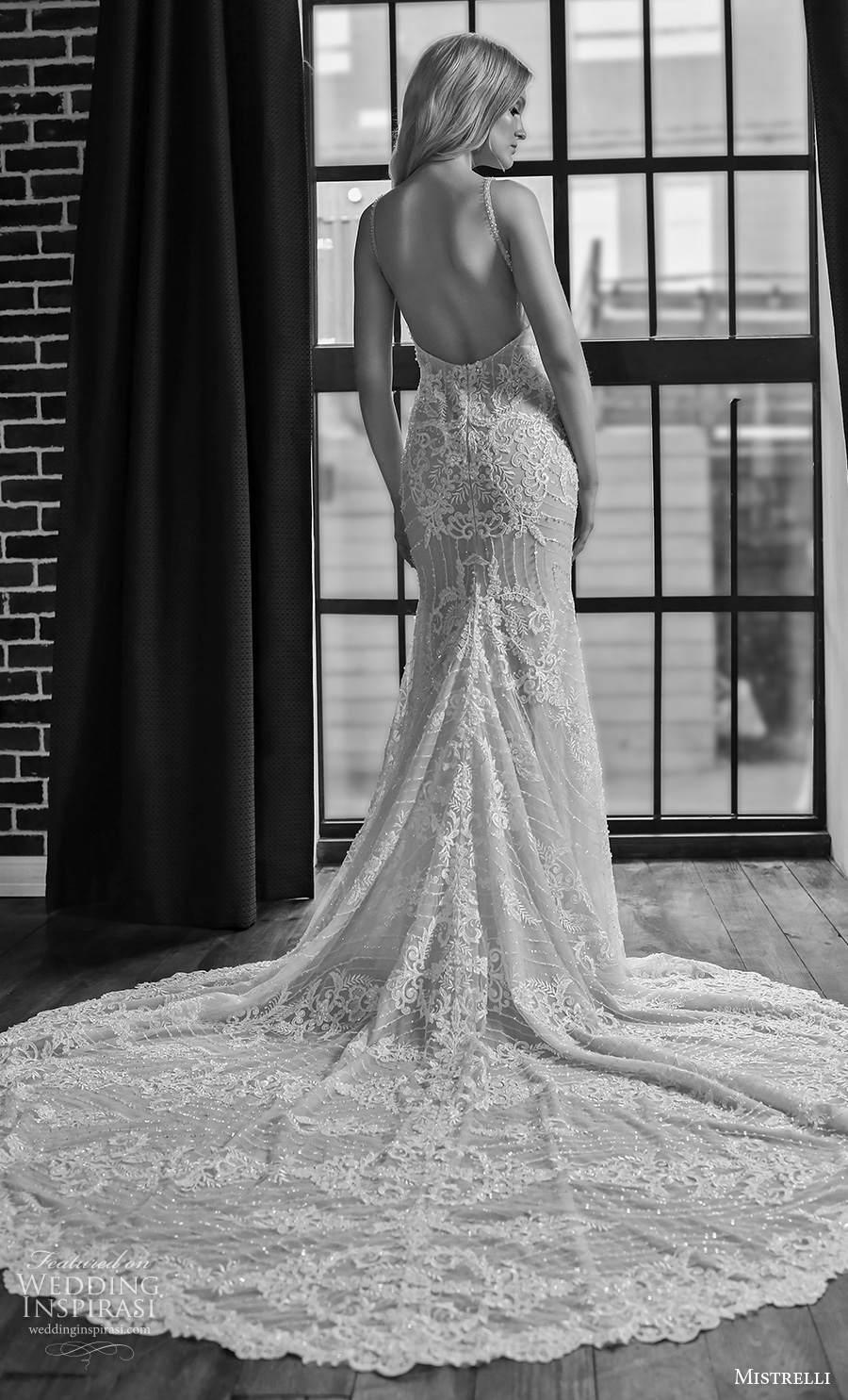 mistrelli 2021 royal drama bridal sleeveless thin strap deep sweetheart neckline full embellishment glamorous sheath wedding dress backless low back chapel train (9) bv