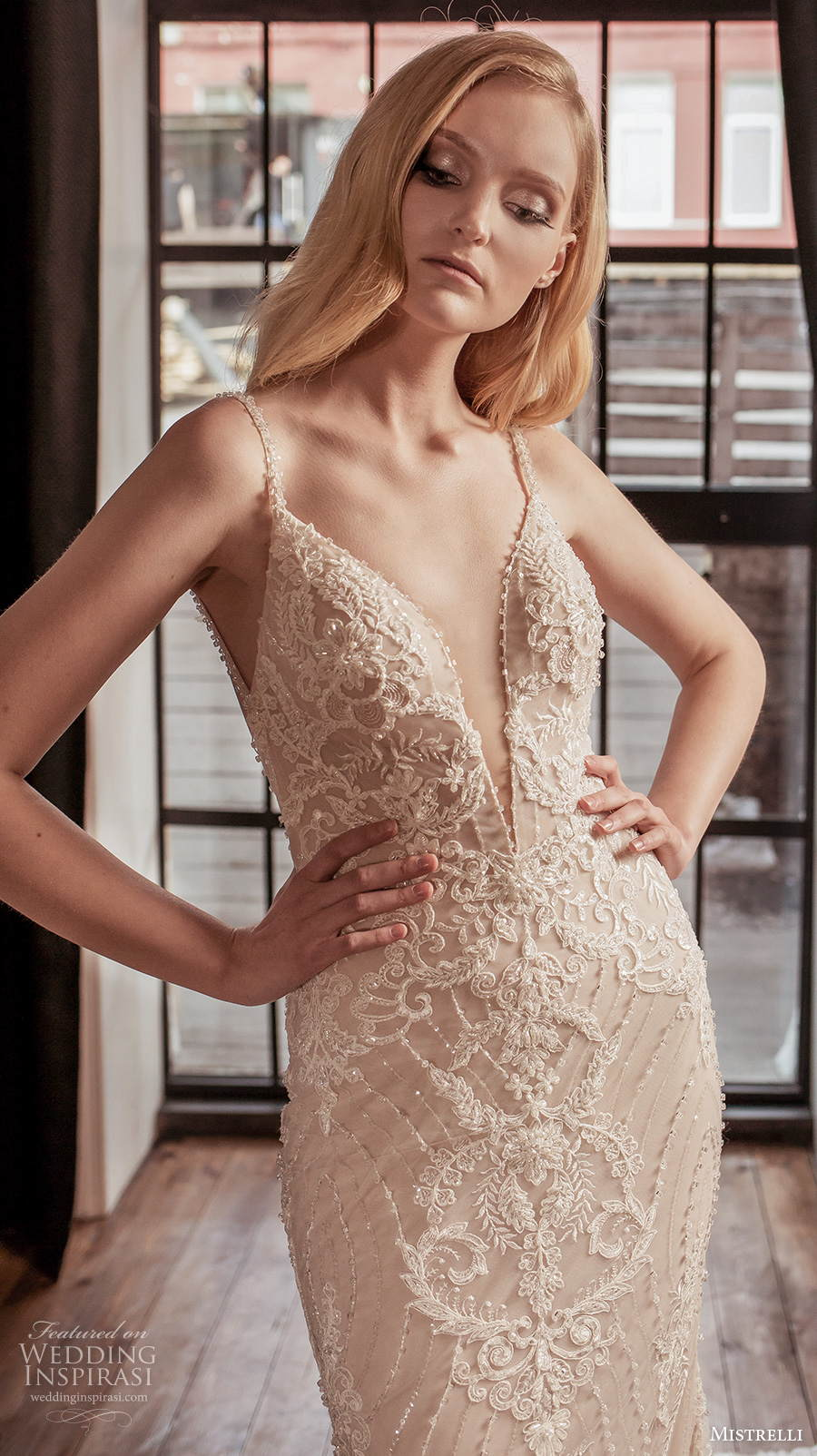 mistrelli 2021 royal drama bridal sleeveless thin strap deep sweetheart neckline full embellishment glamorous sheath wedding dress backless low back chapel train (9) zv