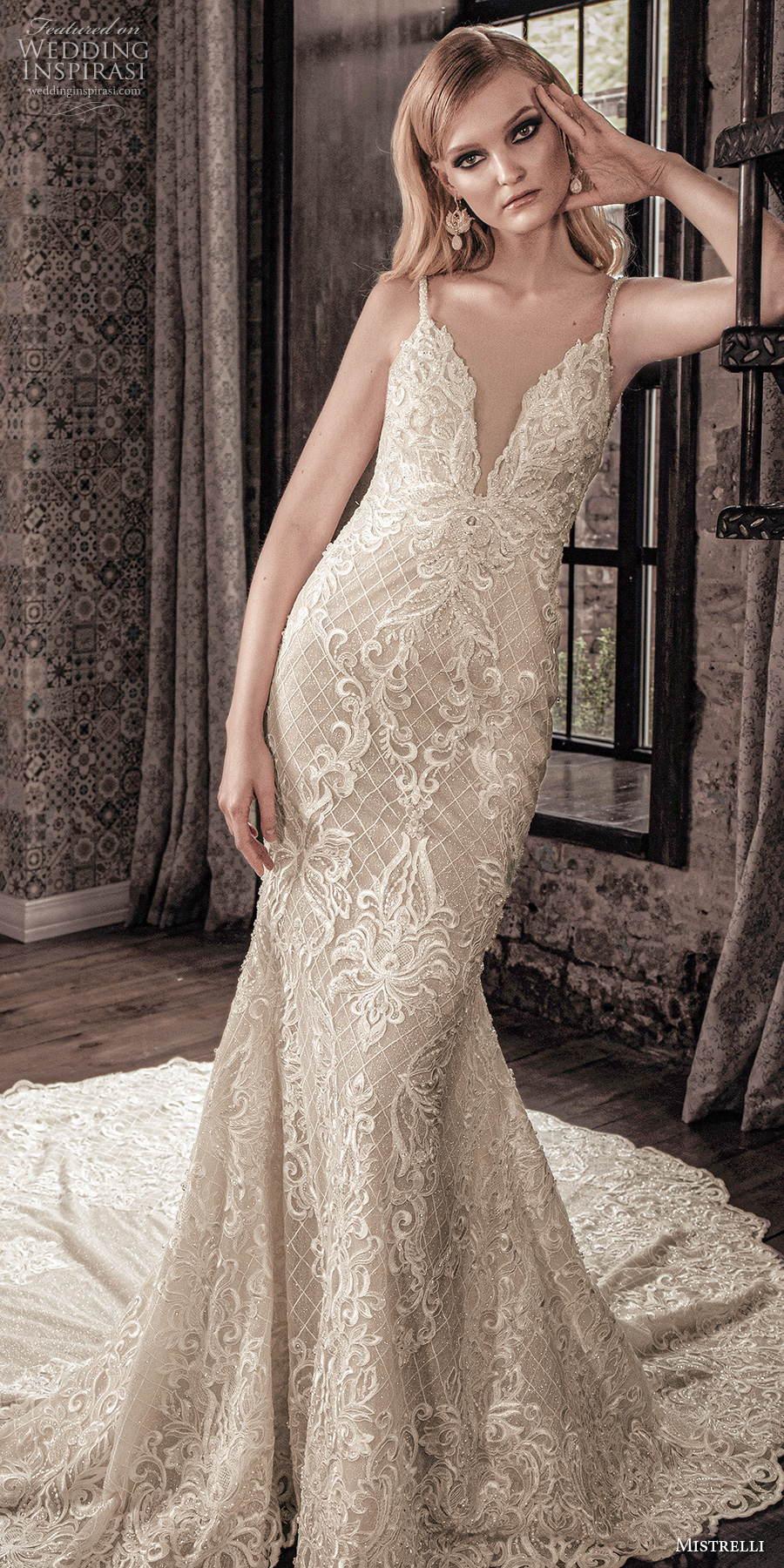 mistrelli 2021 royal drama bridal sleeveless thin strap diamond neckline full embellishment elegant fit and flare sheath wedding dress embellished cowl back chapel train (11) lv