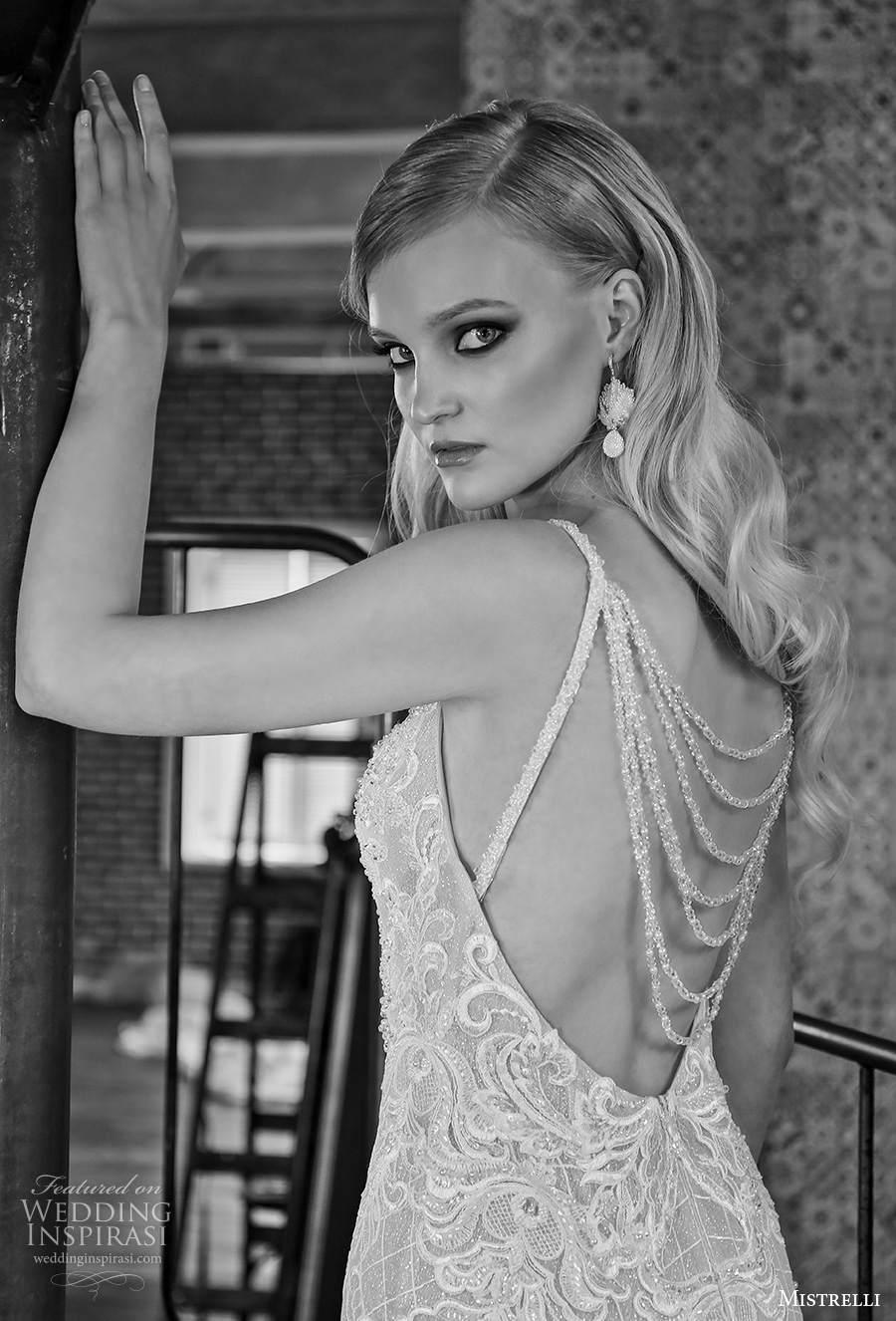 mistrelli 2021 royal drama bridal sleeveless thin strap diamond neckline full embellishment elegant fit and flare sheath wedding dress embellished cowl back chapel train (11) zbv