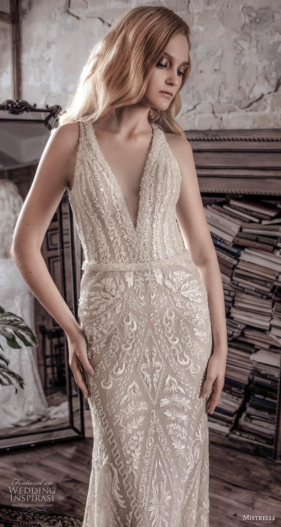 mistrelli 2021 royal drama bridal sleeveless v neck full embellishment glamorous elegant sheath wedding dress backless low back chapel train (2) zv