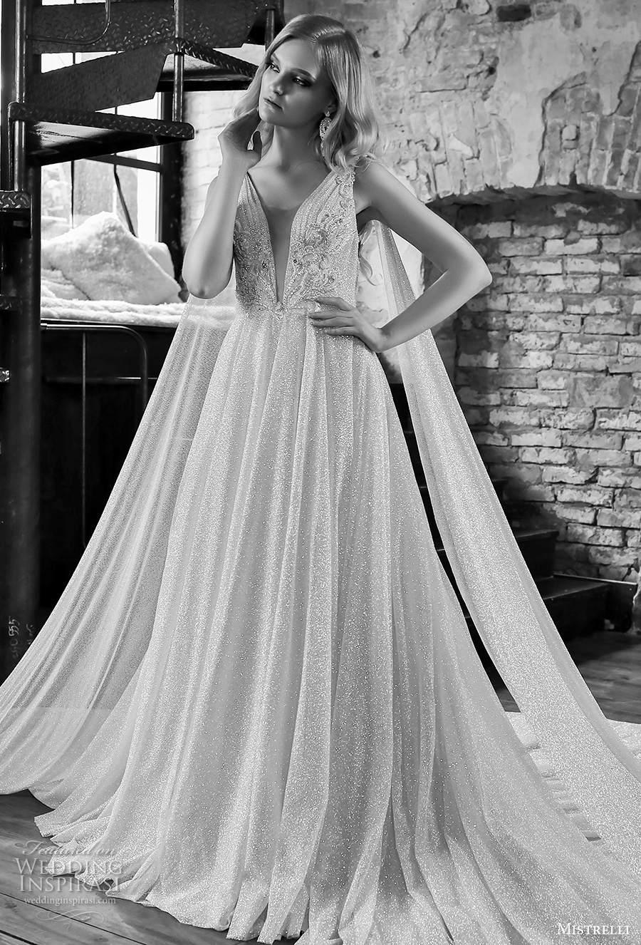 mistrelli 2021 royal drama bridal sleeveless with strap deep plunging v neck full embellishment glamorous a  line wedding dress embellished back chapel train (8) mv