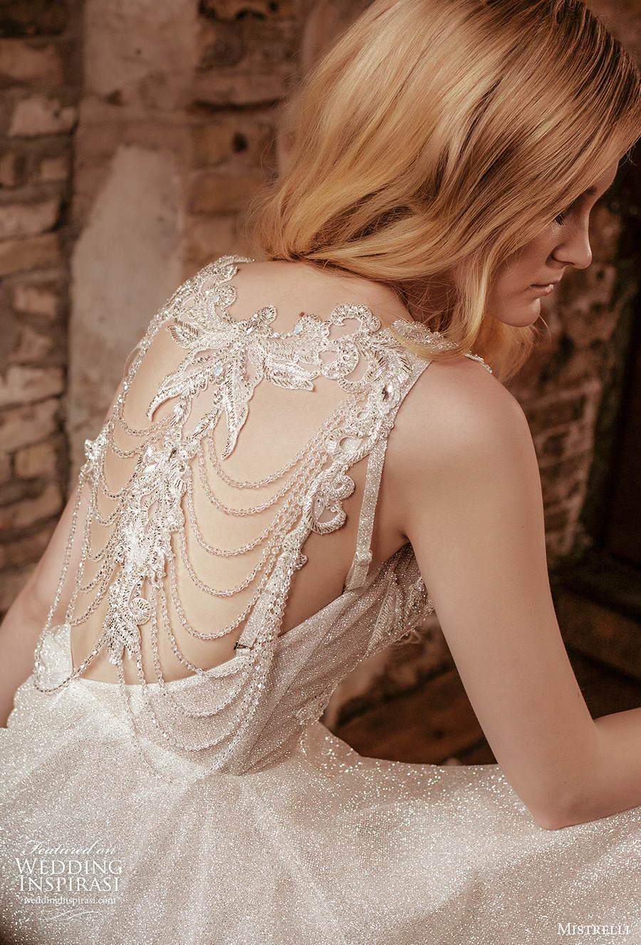 mistrelli 2021 royal drama bridal sleeveless with strap deep plunging v neck full embellishment glamorous a  line wedding dress embellished back chapel train (8) zbv
