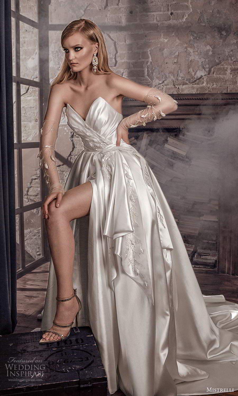 mistrelli 2021 royal drama bridal strapless sweetheart neckline ruched bodice embellished a line ball gown wedding dress chapel train (16) mv