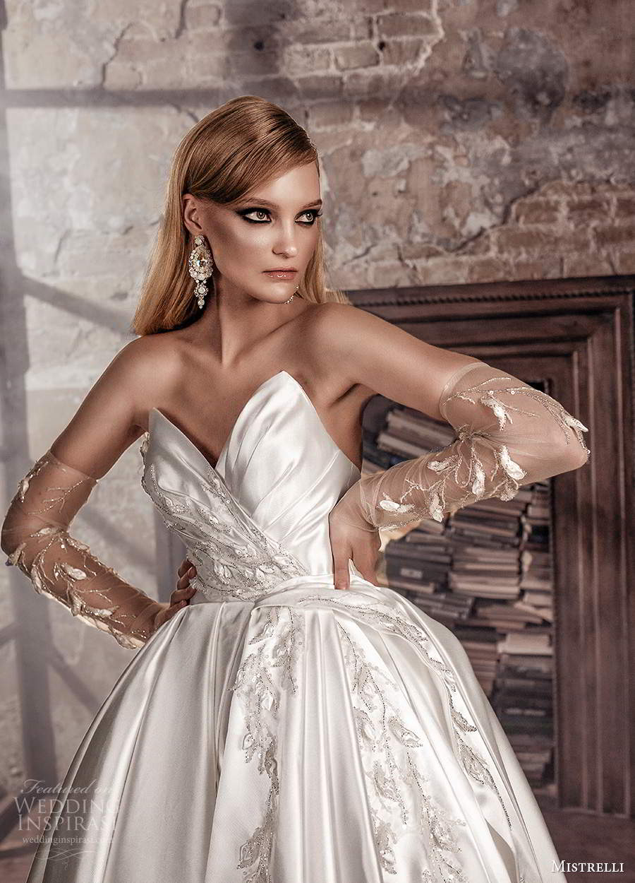 mistrelli 2021 royal drama bridal strapless sweetheart neckline ruched bodice embellished a line ball gown wedding dress chapel train (16) zv