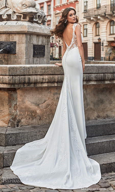 moonlight collection spring 2021 bridal cap sleeves straps embellished sweetheart neckline clean minimalist sheath wedding dress chapel train (4) bv
