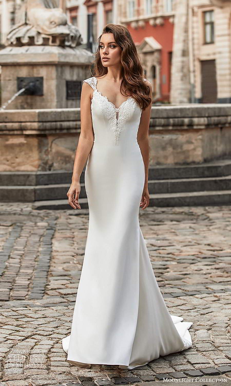 moonlight collection spring 2021 bridal cap sleeves straps embellished sweetheart neckline clean minimalist sheath wedding dress chapel train (4) mv