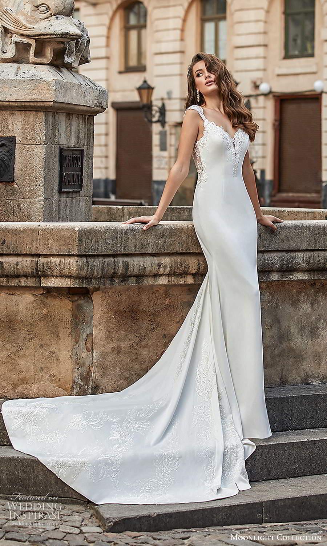 moonlight collection spring 2021 bridal cap sleeves straps embellished sweetheart neckline clean minimalist sheath wedding dress chapel train (4) sv
