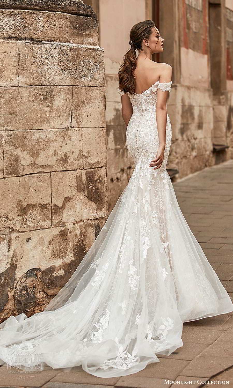 moonlight collection spring 2021 bridal off shouder straps sweetheart neckline embellished fit flare mermaid wedding dress chapel train (3) bv