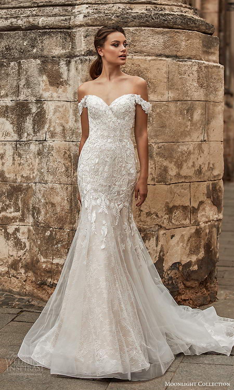 moonlight collection spring 2021 bridal off shouder straps sweetheart neckline embellished fit flare mermaid wedding dress chapel train (3) mv