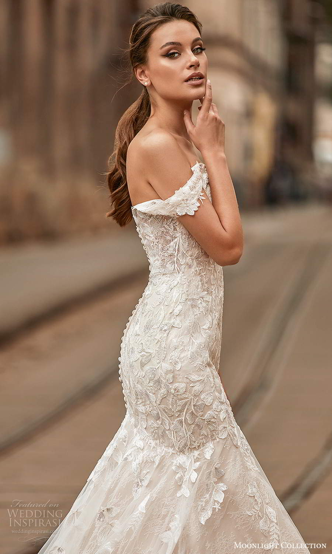moonlight collection spring 2021 bridal off shouder straps sweetheart neckline embellished fit flare mermaid wedding dress chapel train (3) zsv