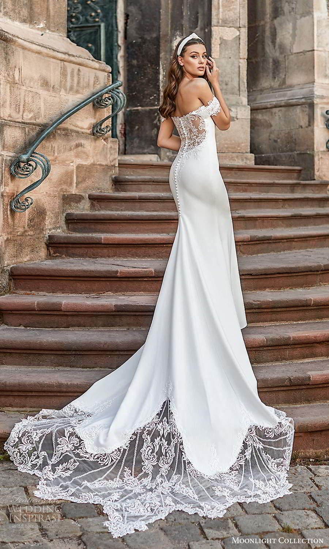moonlight collection spring 2021 bridal off shoulder straps sweetheart neckline clean minimalist sheath wedding dress chapel train illusion back (7) bv