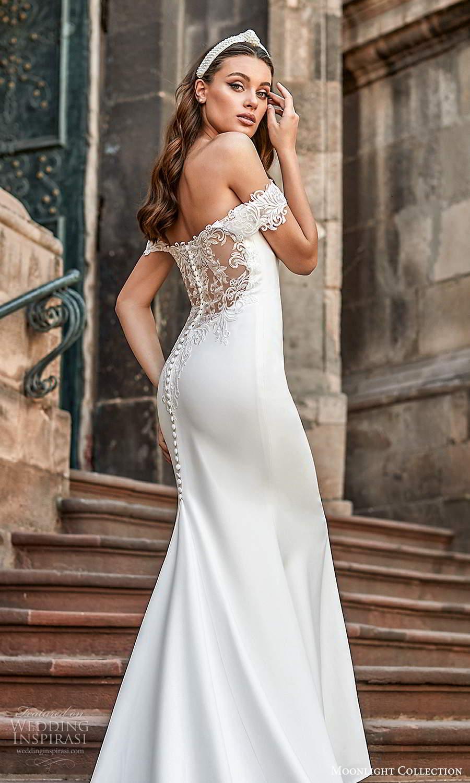 moonlight collection spring 2021 bridal off shoulder straps sweetheart neckline clean minimalist sheath wedding dress chapel train illusion back (7) zbv