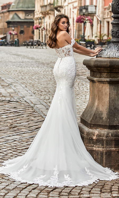moonlight collection spring 2021 bridal off shoulder straps sweetheart neckline embellished bodice fit flare sheath wedding dress chapel train (9) bv