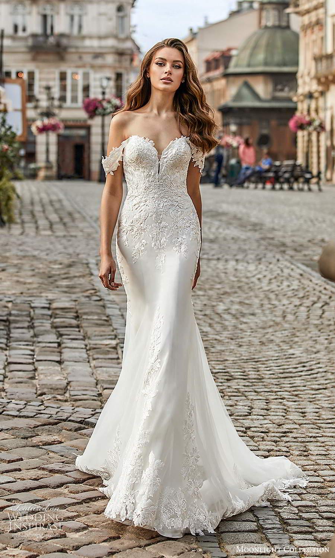 moonlight collection spring 2021 bridal off shoulder straps sweetheart neckline embellished bodice fit flare sheath wedding dress chapel train (9) mv