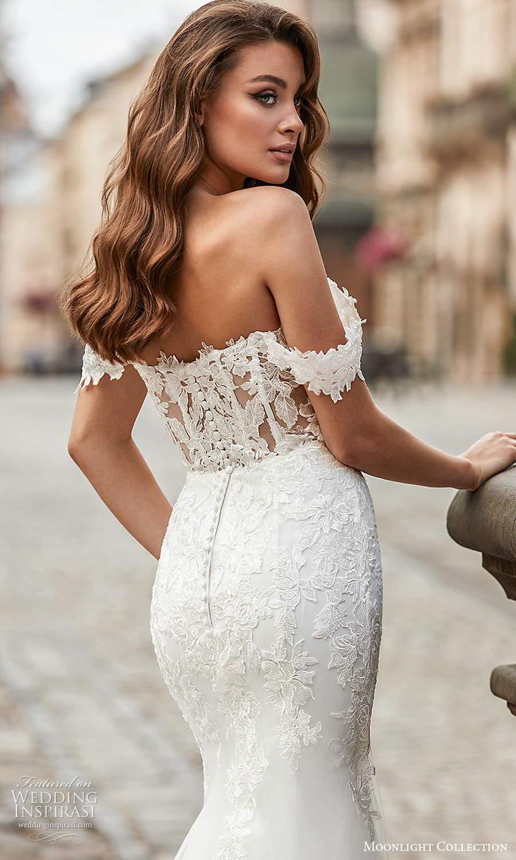 moonlight collection spring 2021 bridal off shoulder straps sweetheart neckline embellished bodice fit flare sheath wedding dress chapel train (9) zbv