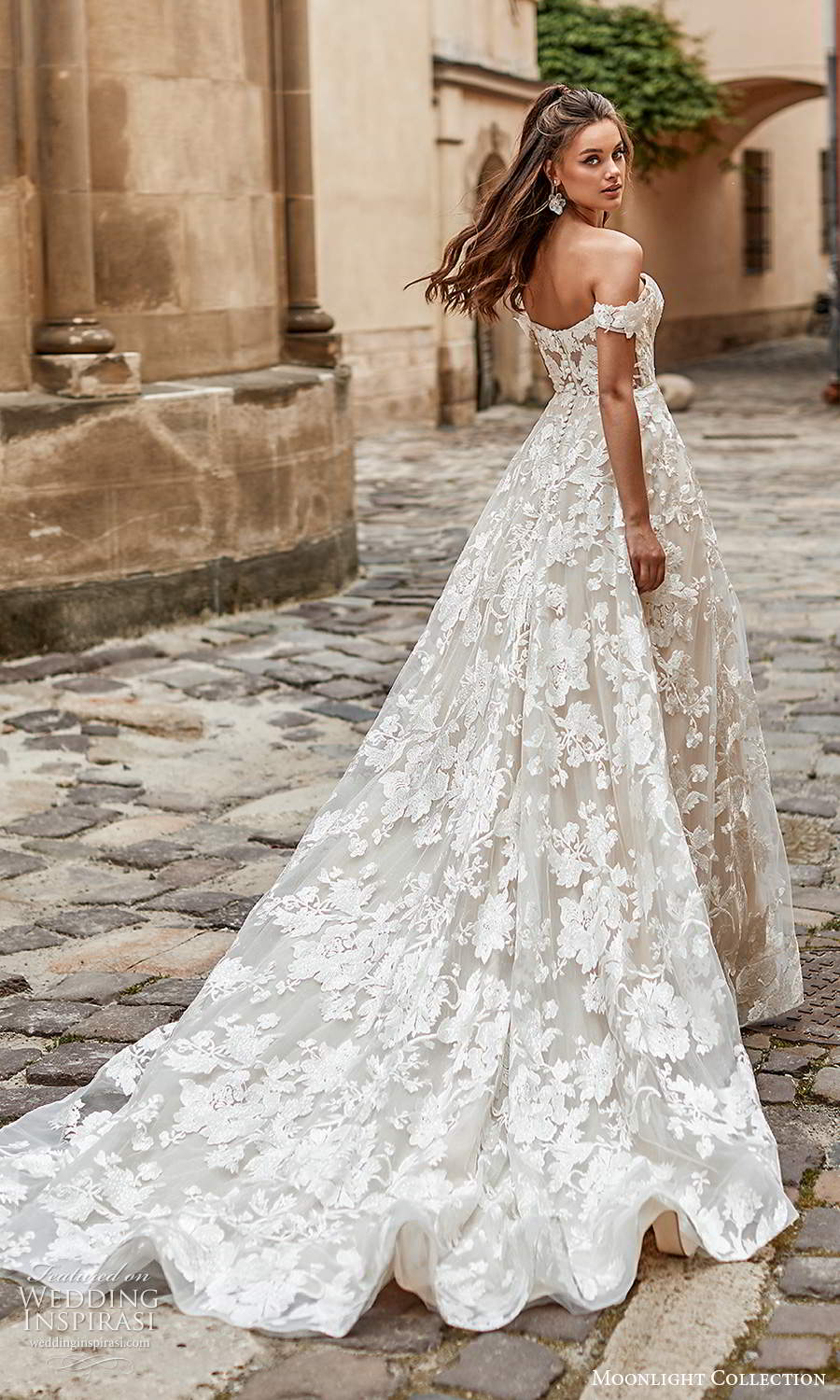 moonlight collection spring 2021 bridal off shoulder straps sweetheart neckline fullly embellished a line ball gown wedding dress chapel train (8) bv