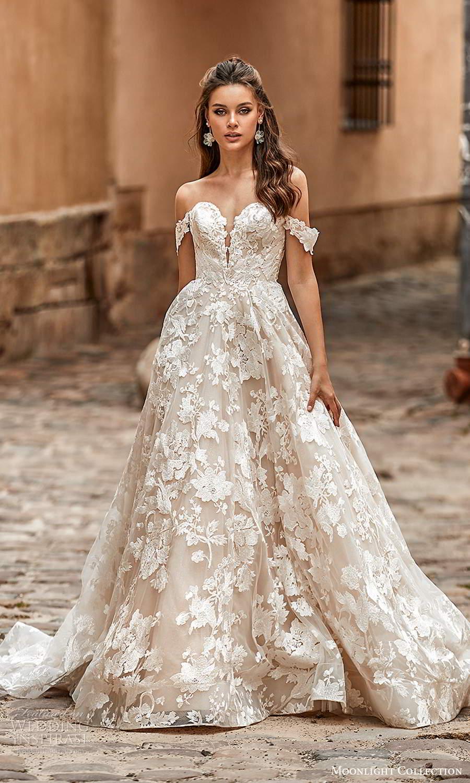 moonlight collection spring 2021 bridal off shoulder straps sweetheart neckline fullly embellished a line ball gown wedding dress chapel train (8) mv