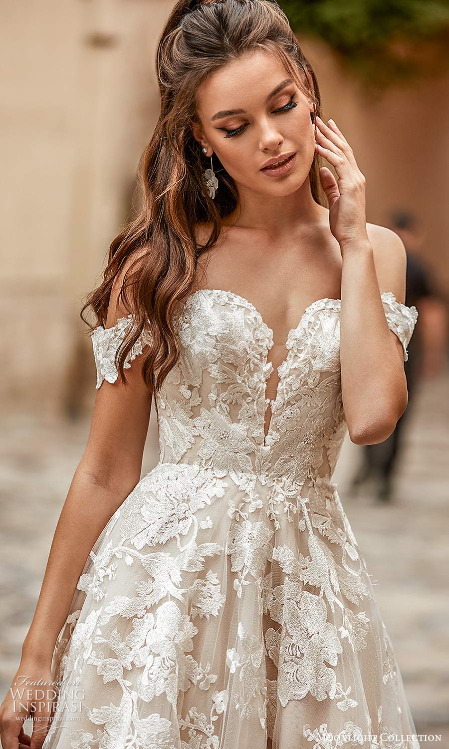 moonlight collection spring 2021 bridal off shoulder straps sweetheart neckline fullly embellished a line ball gown wedding dress chapel train (8) zv