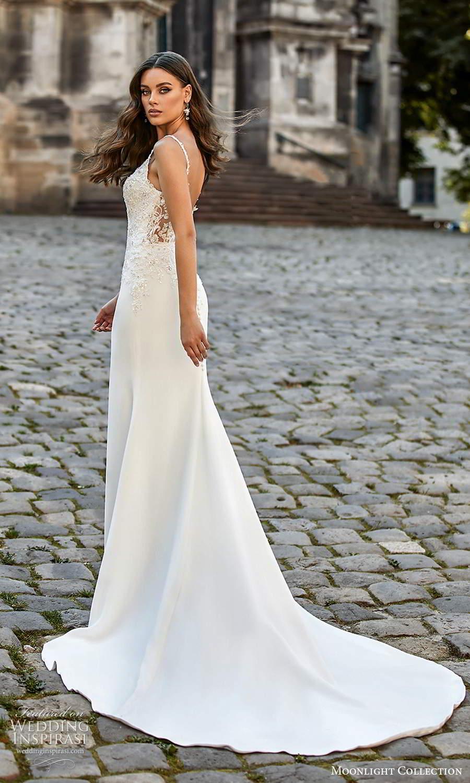 moonlight collection spring 2021 bridal sleeveless beaded straps sweetheart v neckline embellished bodice sheath wedding dress chapel train (5) bv