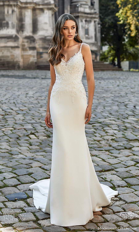 moonlight collection spring 2021 bridal sleeveless beaded straps sweetheart v neckline embellished bodice sheath wedding dress chapel train (5) mv