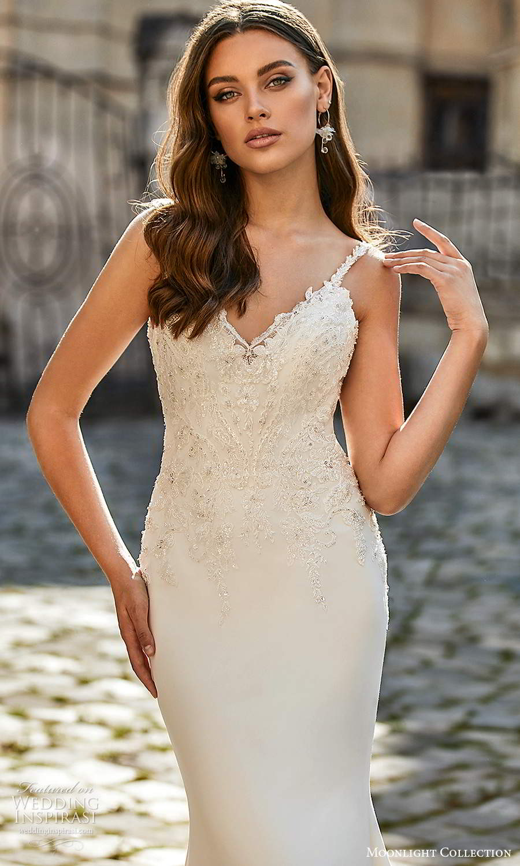 moonlight collection spring 2021 bridal sleeveless beaded straps sweetheart v neckline embellished bodice sheath wedding dress chapel train (5) zv