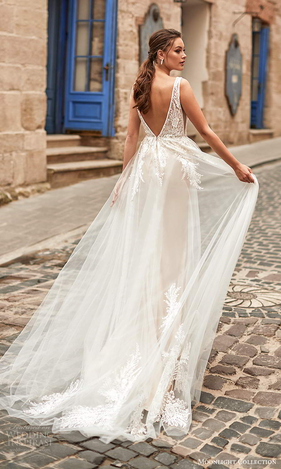moonlight collection spring 2021 bridal sleeveless straps plunging v neckline embellished bodie a line ball gown wedding dress chapel train blush (1) bv
