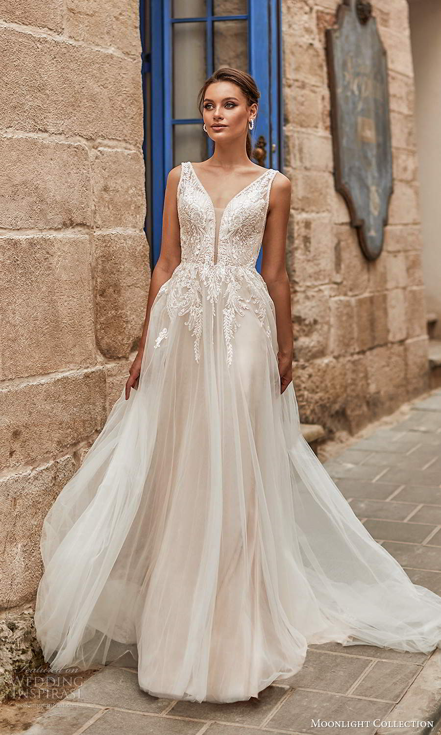 moonlight collection spring 2021 bridal sleeveless straps plunging v neckline embellished bodie a line ball gown wedding dress chapel train blush (1) mv