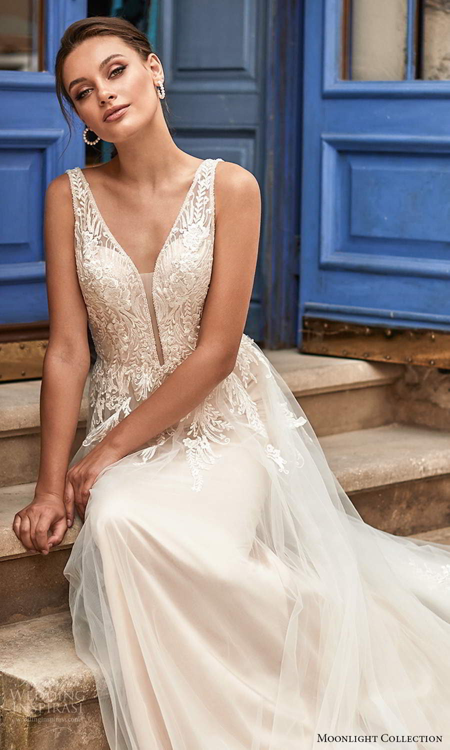 moonlight collection spring 2021 bridal sleeveless straps plunging v neckline embellished bodie a line ball gown wedding dress chapel train blush (1) zv