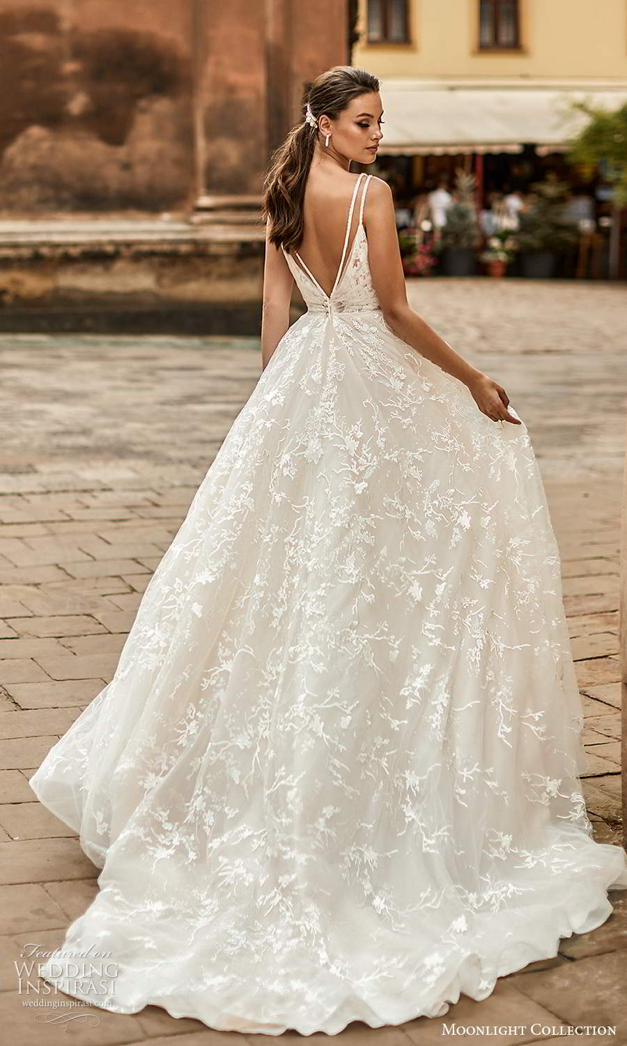 moonlight collection spring 2021 bridal sleeveless straps v neckline ruched bodice a line ball gown wedding dress chapel train (6) bv