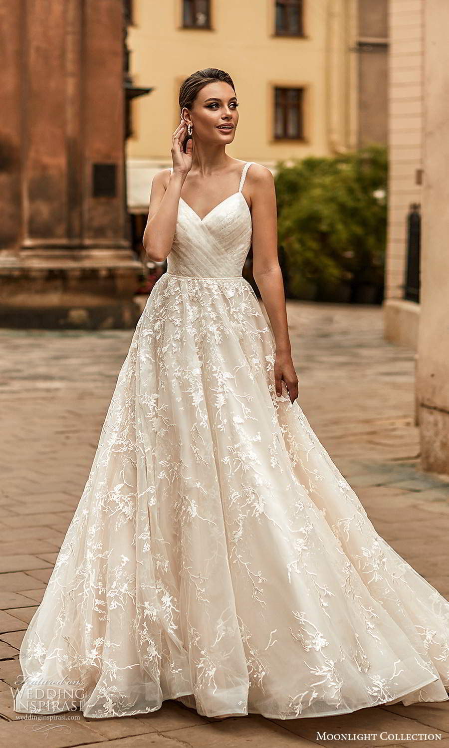 moonlight collection spring 2021 bridal sleeveless straps v neckline ruched bodice a line ball gown wedding dress chapel train (6) mv