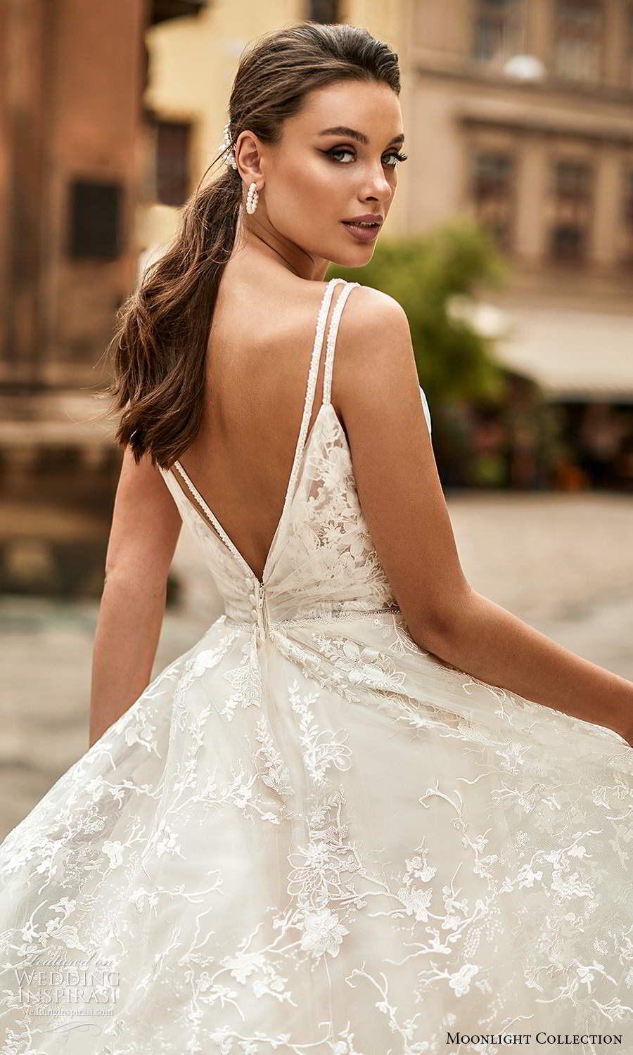 moonlight collection spring 2021 bridal sleeveless straps v neckline ruched bodice a line ball gown wedding dress chapel train (6) zbv
