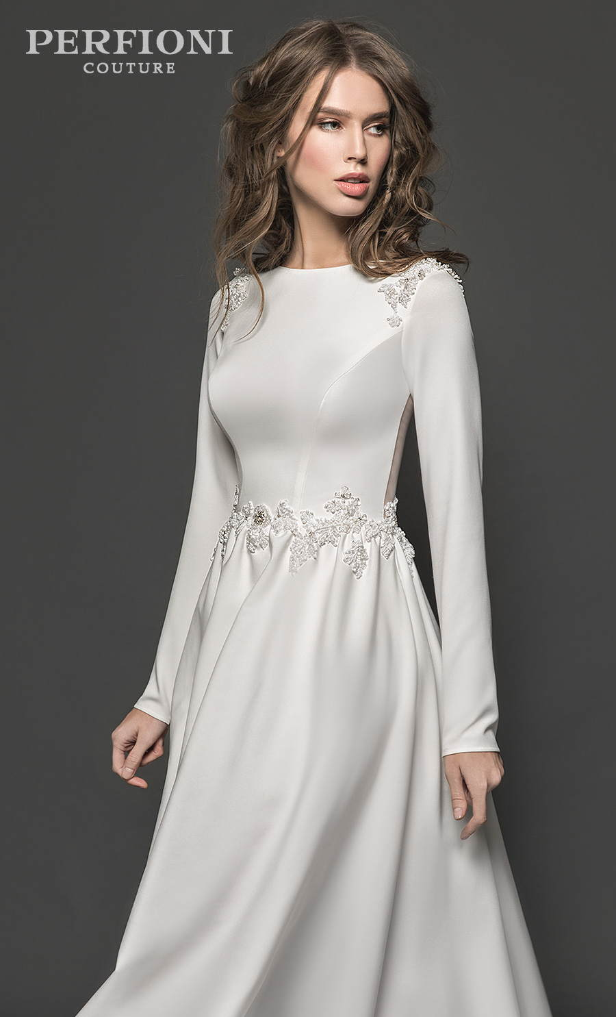 perfioni 2020 flora romance bridal long sleeves bateau neck simple minimalist princess elegant a line wedding dress sheer button back chapel train (brianna) mv zv
