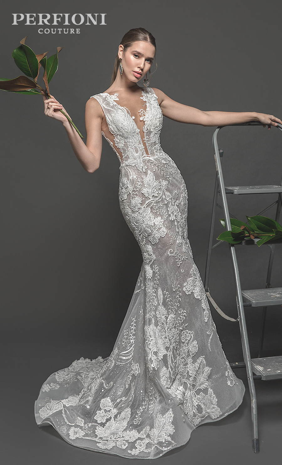 perfioni 2020 flora romance bridal sleeveless deep plunging v neck full embellishment elegant fit and flare wedding dress sweep train (evelyn) mv
