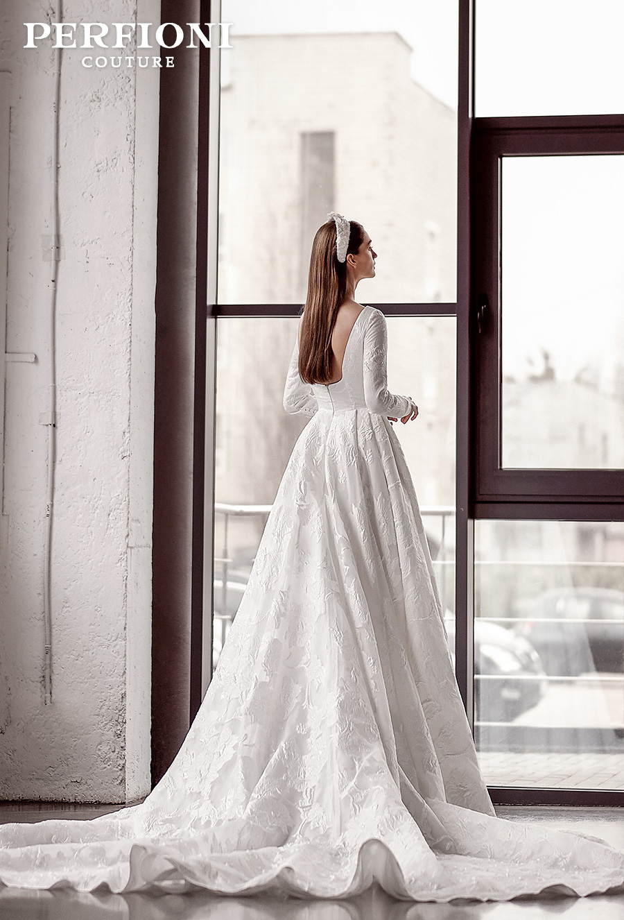 perfioni 2020 love season bridal long sleeves bateau neck full embellisment simple princess a line wedding dress backless royal train (gabriella) bv