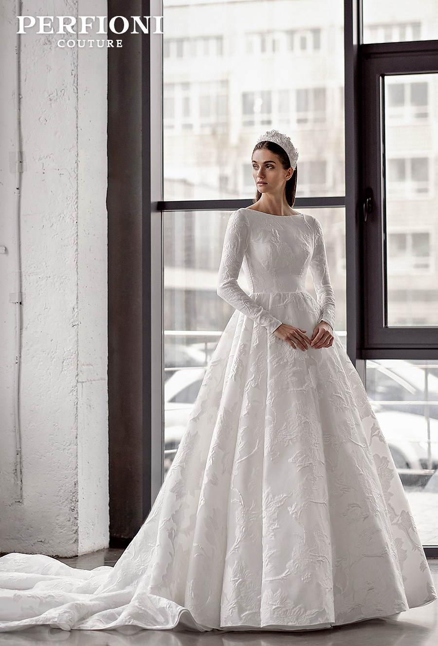 perfioni 2020 love season bridal long sleeves bateau neck full embellisment simple princess a line wedding dress backless royal train (gabriella) mv