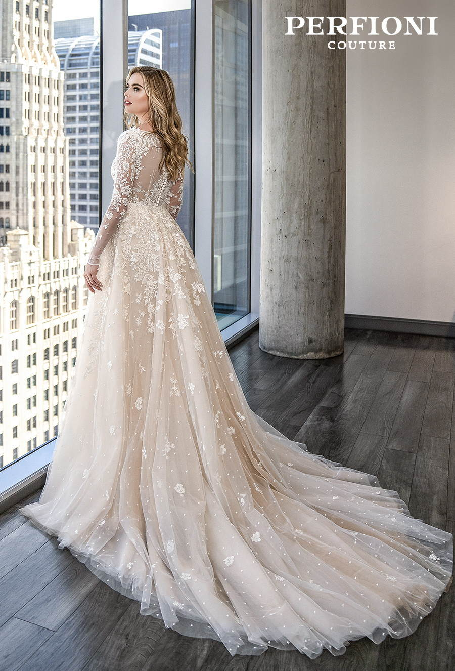 perfioni 2020 love season bridal long sleeves deep v neck full embellishment elegant a line wedding dress sheer button back chapel train (019) bv
