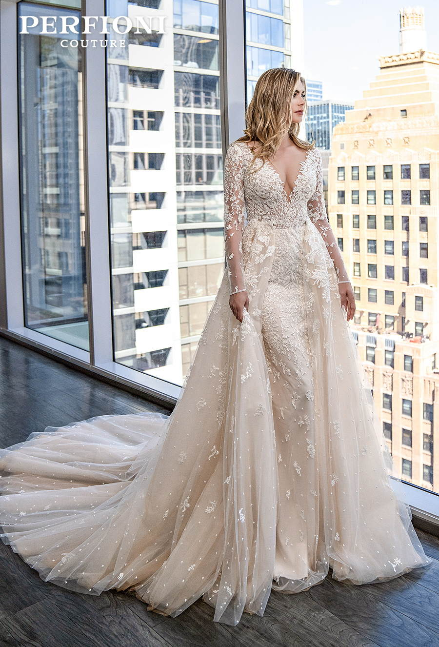 perfioni 2020 love season bridal long sleeves deep v neck full embellishment elegant a line wedding dress sheer button back chapel train (019) mv