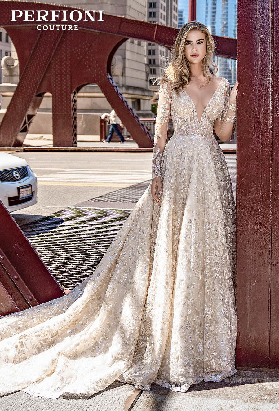 perfioni 2020 love season bridal long sleeves deep v neck full embellishment romantic glamorous gold a line wedding dress v back chapel train (010) mv