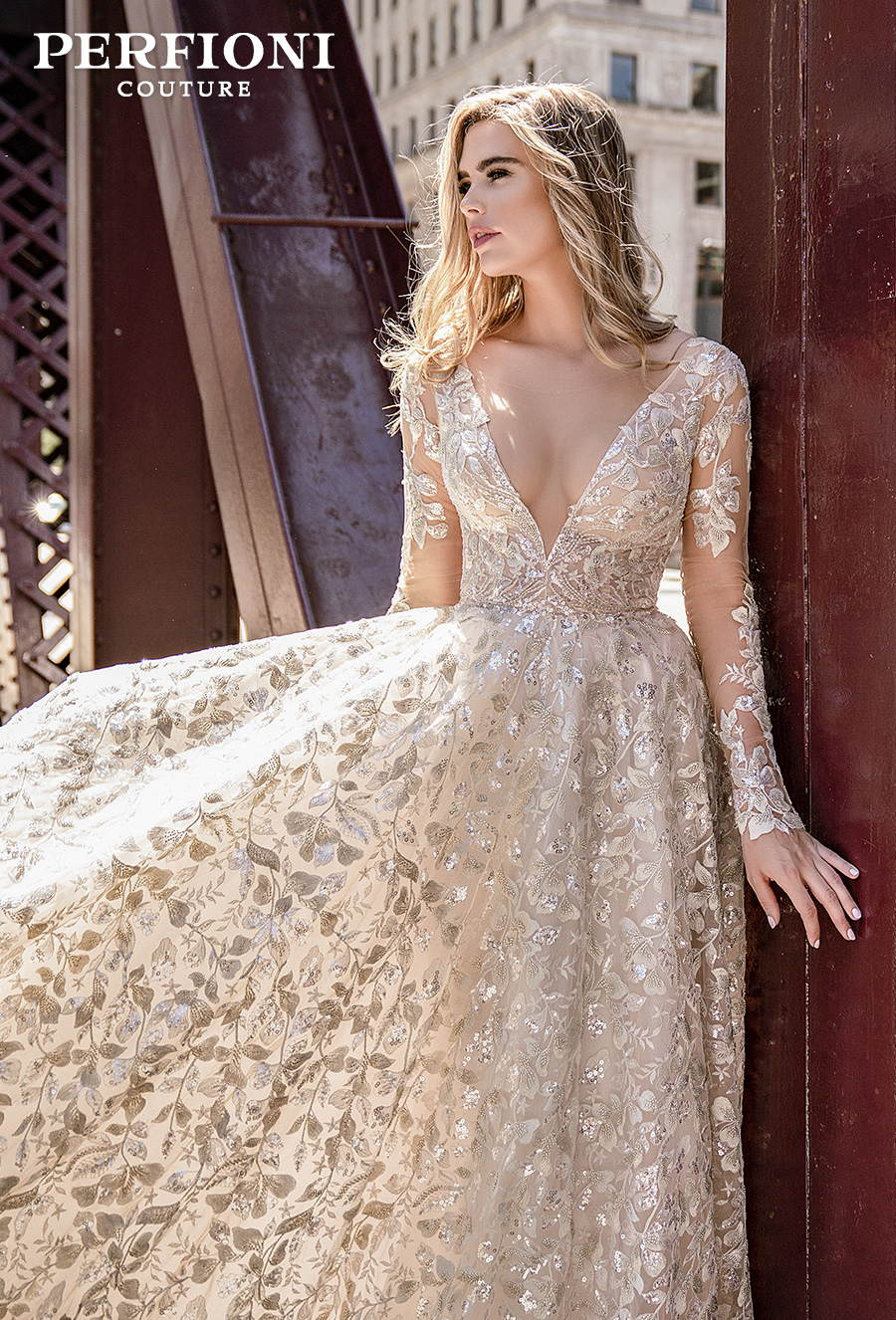 perfioni 2020 love season bridal long sleeves deep v neck full embellishment romantic glamorous gold a line wedding dress v back chapel train (010) zv