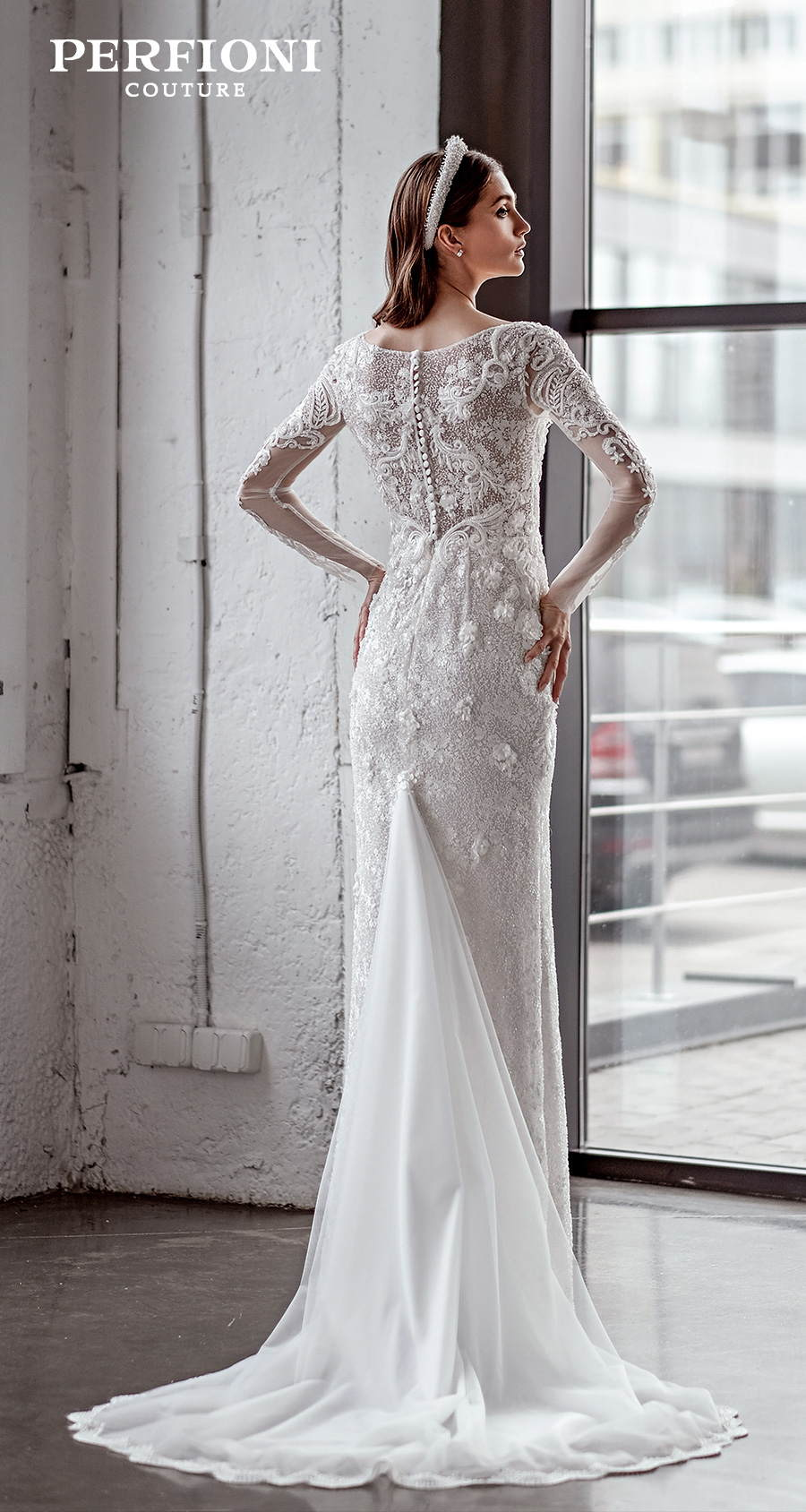 perfioni 2020 love season bridal long sleeves v neck full embellishment elegant sheath wedding dress covered lace back sweep train (sarah) bv
