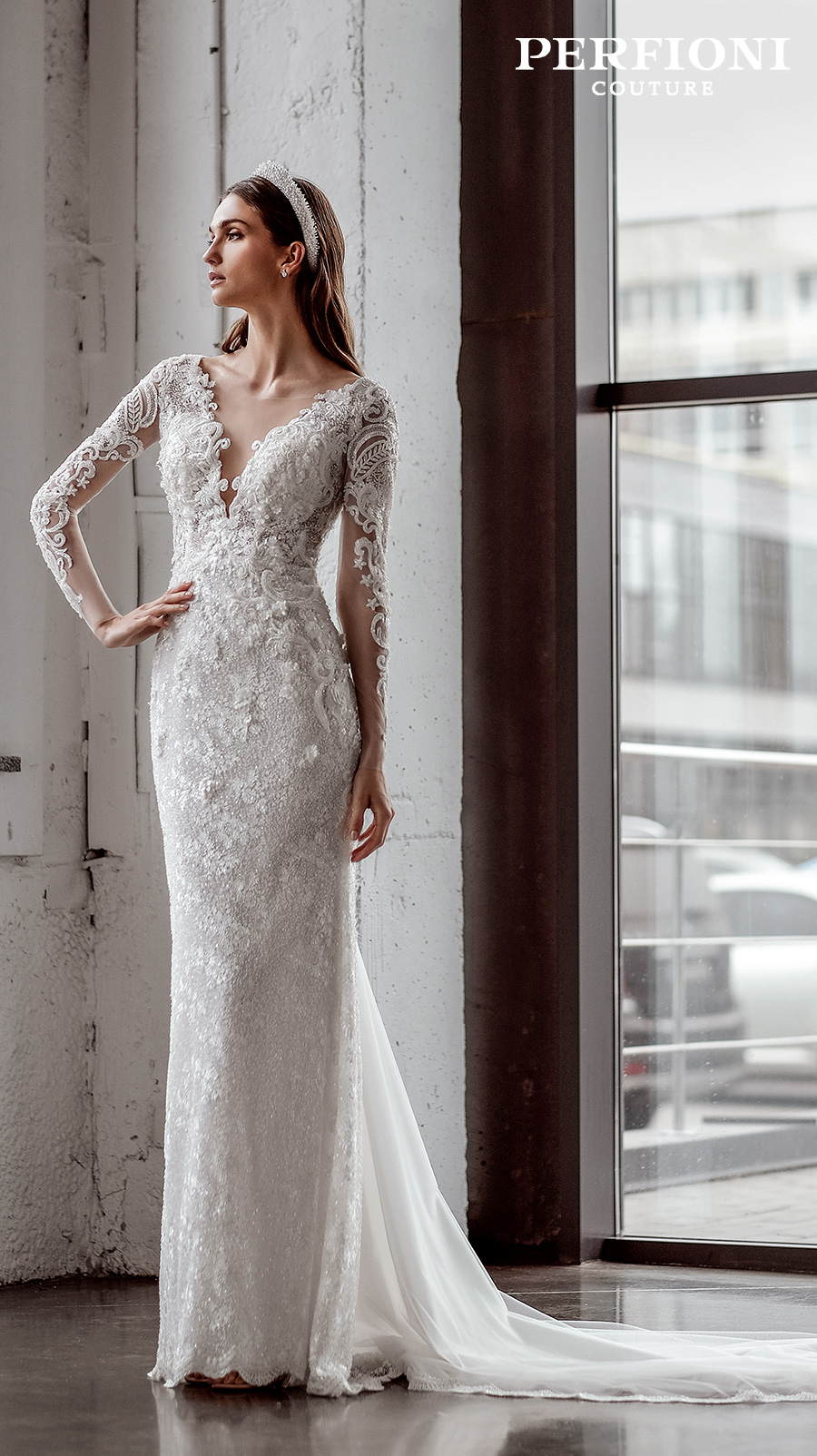 perfioni 2020 love season bridal long sleeves v neck full embellishment elegant sheath wedding dress covered lace back sweep train (sarah) mv