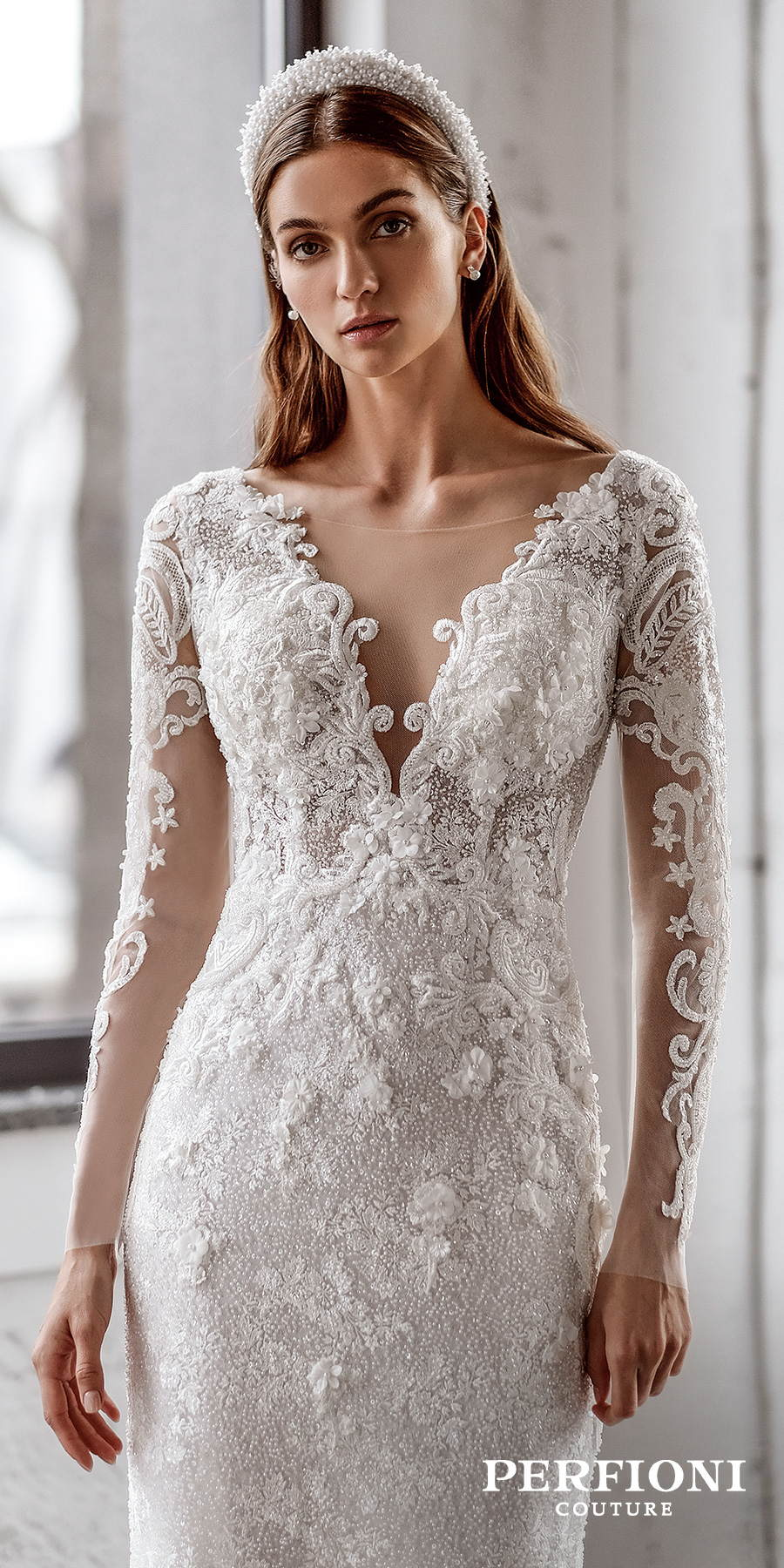 perfioni 2020 love season bridal long sleeves v neck full embellishment elegant sheath wedding dress covered lace back sweep train (sarah) zv