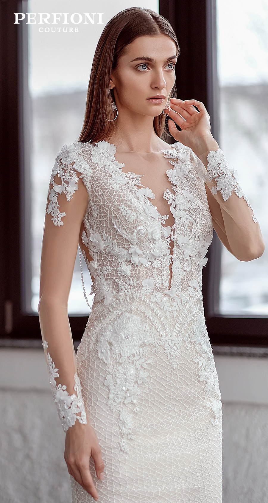 perfioni 2020 love season bridal long sleeves v neck full embellishment elegant sheath wedding dress jewellery cowl back medium train (wilow) mv zv